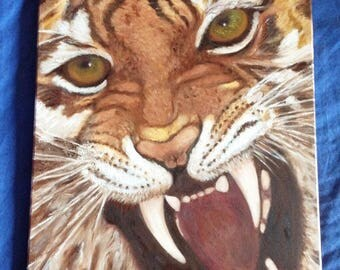 Oil painting of Bengal tiger head