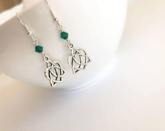 Silver Celtic Knot Open Heart Earrings