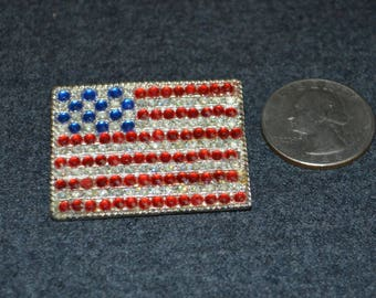 Vintage Gem Studded American Flag Lapel Pin Brooch