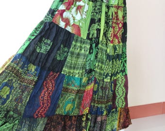 SALE 20% off and Free Gift !!! ** Green Multi Patchwork Skirt Maxi Boho Hippie Gypsy Bohemian Summer Travel Skirt - No.1