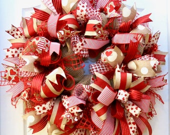 Valentine Wreath, Burlap Valentine Wreath, Valentine's Day Wreath for front door, Valentine Decor, Valentine Door, red white natural