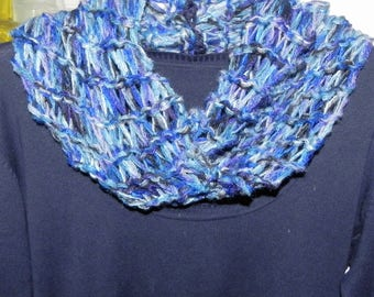 Blue scarf neck warmer scarf handmade gift