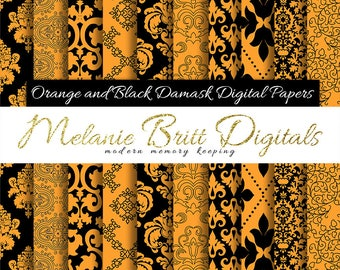 ORANGE and BLACK damask, digital paper pack, Halloween scrapbook paper, damask pattern, background papers, printable pdf, instant download