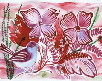 Folk Art Bird Painting. Mixed media Art