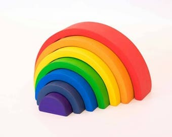 "Rainbow stacker, rainbow puzzle stacker, puzzle, wooden toy, waldorf inspired, montessori inspired, reggio, 2.25"" thick and 10"" long"