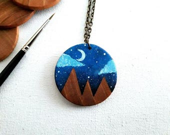 Mountain Jewelry, Wood Pendant, Mountain Necklace, Mountain Pendant, Nature Lover Gift,  Hiking Gift, Moon Necklace, Painted Necklace