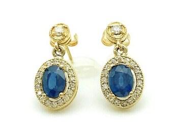 Blue Sapphire and Diamond Earrings 2.80 cttw