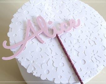 Cake Topper-Cake decoration-Girl name-Pink
