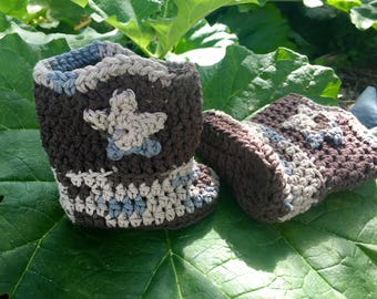 Camo and Brown Baby, Toddler, Child Crochet Cowboy Boots