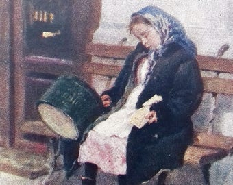 "Soviet Postcard - Artist K. Makovsky ""Tired"", 1960"