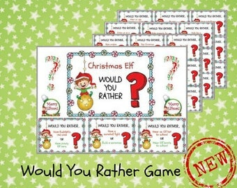 Would You Rather Game, Elf Printable, Elf Antic, Elf Props, Christmas Elf Game