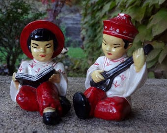 Chalkware Asian Boy And Girl Figurines // Boy Playing Guitar // Girl Reading Book // 3 Inches Tall