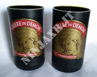 Pack 3 glasses Tumbler Highball beer Du Demon idea gift furnishing recycling creative Reuse