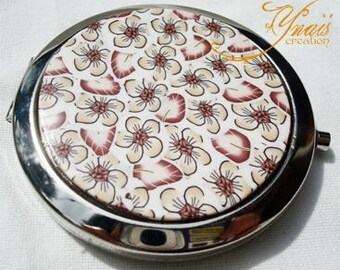 beige Brown fimo 7cm Pocket mirror