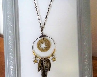 Long bronze/gold with feather and leaf charms-star necklace
