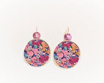 Earrings sleepers silver cabochon liberty purple pink yellow flower