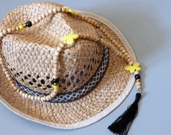 Long necklace Yellow Butterfly/cross/natural wood beads / black tassel