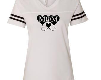 Mom Hearts   LAT - Women's Football V-Neck Fine Jersey Tee - 3537