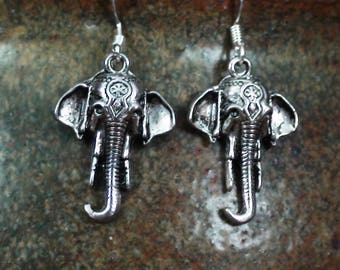 Silver Indian Elephant Unisex Dangle Earrings .925 Sterling Ear Wire Ganesha Hindu Sacred Spirit Animal Pachyderm