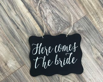 Here comes the bride sign - ring bearer sign - flower girl sign - wedding decorations