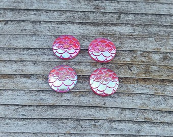 10mm Pink Ab Mermaid Scale Resin Cabochon