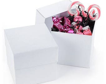 Lidded White Cupcake Favor Boxes (Pack of 25) Wedding Party Favors