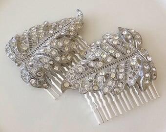 Authentic Art Deco, rhinestone leaves, hair combs, pair, 2, 1920s weddings, rustic, bridal, hair jewelry, decorative, hair comb,
