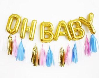 OH BABY balloon tassel garland set - gender reveal baby shower
