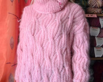 KNITTED mohair sweater pink plus size""