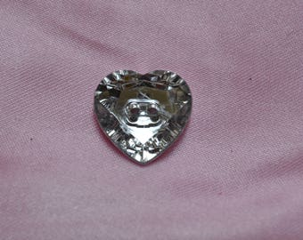 button Heart Rhinestone 20mm