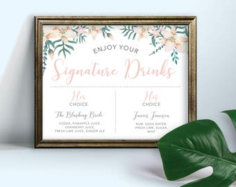 8x10 Signature Drinks Sign, Wedding Table Sign, Destination Wedding Ideas, Destination Wedding Decor, Beach Decor Ideas, Beach Wedding Ideas