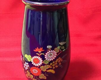 Porcelain Cobalt Blue Vase Floral Design, Gold Trim