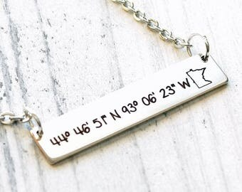 Coordinates to my Favorite Place with State Personalized Engraved Bar Necklace