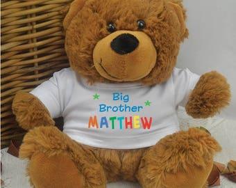 Big Sister/Brother Personalised Brown Teddy Bear