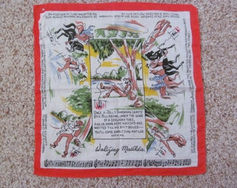 Waltzing Matilda Vintage Handkerchief