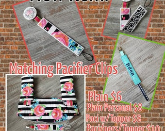 ADD a Matching Pacifier clip to your set. Options to add topper and Personlize.