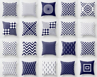 Mix & Match Decorative Throw Pillow Cover Navy Blue, White, Geometric, Pattern, Gift, Christmas, Double-sided print, Indoors, Outdoors