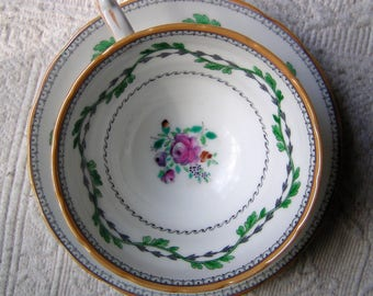 "Copelands Grosvenor China Teacup and Saucer ""Portabello"""