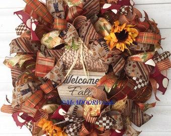 Welcome Fall Wreath, Pumpkin Deco Mesh Wreath, Pumpkin Harvest Wreath, Fall Decor Wreath, Thanksgiving Pumpkin Wreath, Autumn Wreath Decor,