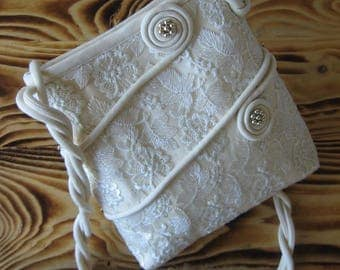 Wedding Bag, Wedding Purse, Lace Bridal Purse, Purse For Wedding, Beige Wedding Bag, Bag With Pearls, Silk Handbag, Lace Wedding Bag