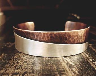 Handmade Mixed Metal Cuff, CMT Cuff, Copper and Silver Cuff, Handmade Cuff, Unique Bracelet
