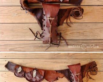 Made to Order // Custom Designed Deerskin Leather Utility Belt with 2 Pockets & Adjustable Water Bottle Holder
