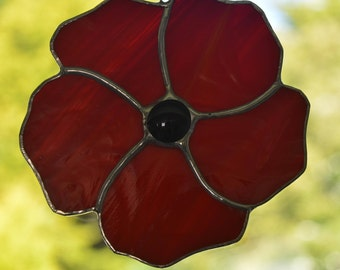 Red Poppy Stained Glass Suncatcher