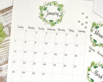 2018 Floral Calendar,  Printable Calendar 2018, Monthly Calendar, Watercolor Printable Calendar, Instant Download, Print, Wreath Calendar