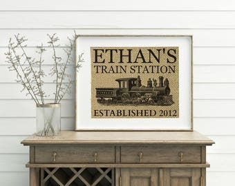 Personalized Train Station Print - Burlap - Train Decor - Train Print - Train Station Sign - Train Nursery - Railroad Sign - Railroad Decor