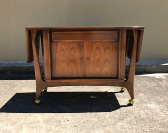 RESERVED-Mid Century Modern server - buffet cabinet - Danish Modern rolling bar cart