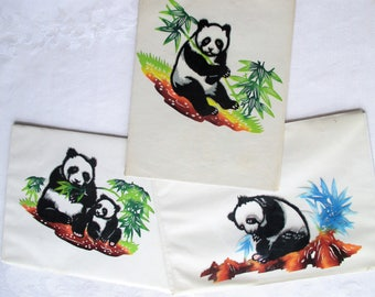 3 Vintage Panda Chinese Paper Cuts - Set of 3 - Tissue Paper Cut Outs - Panda Craft Supply