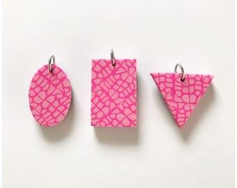 Pink on pink - handmade polymer clay pendants