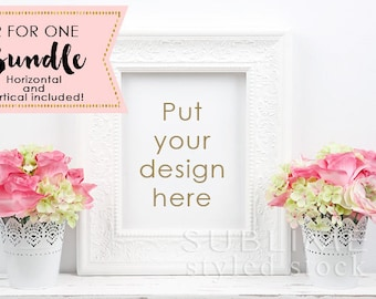 Blank Frame Mock up / Wall Art Display /  Styled Stock Photo / Empty Frame / White Frame / Styled Frame / Print Display / StockStyle-863