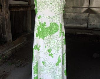 Vintage 1960's Maxi  Dress in Green and White by Norma Maier's of Hawaii * Medium to Large